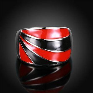 Unique  Statement Ring 9 Red Black Stainless Steel